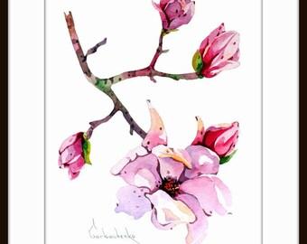 ORIGINAL Watercolor Painting Sakura Bloesem,  Sakura Art ,Sakura Flowers,flowers Painting, Floral Art, Flowers watercolor, Living room decor