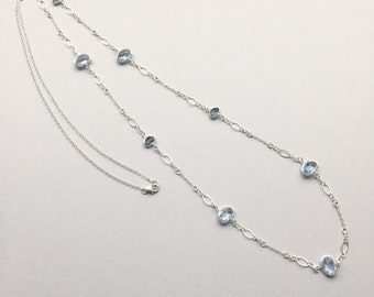 """Blue Cubic Zirconia Necklace, Layering Bezel CZ Station Necklace, Modern Minimalist Crystal Jewelry, 38"""" Sterling Silver, Gifts for Women"""