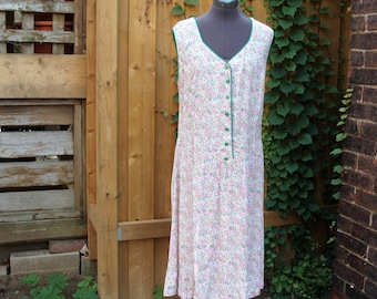 Vintage 1930s Pink and Green Cotton Made at Home House Dress