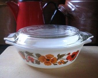 "Vintage English Pyrex ""Ingrid"" Small Casserole Dish with Lid Nasturtium Design Rare Pyrex Collectable Pyrex Retro Cookware"