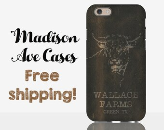 """Customize With Your Last Name And City Farm """"Leather"""" Rustic Cool Manly Dad Gift Samsung Galaxy Edge S5 S6 S7 iPhone 5 6 6s Pixel Phone Case"""
