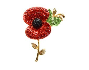 Red Poppy Brooch set with Crystals using Swarovski Elements on Gold Tone Finish