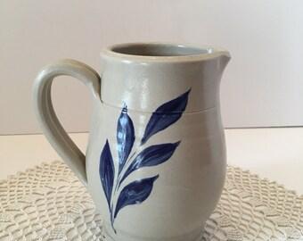 Williamsburg Pottery ~ Salt Glaze Pottery ~ Vase ~ Pitcher ~ Blue and Gray ~ Leaves Design~ Vintage