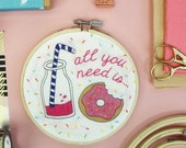 Embroidery kit, milkshake and doughnuts, hoop art, home decor, embroidery designs, needlepoint, sewing pattern, gifts for her, DIY kit