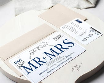 Car License Plate Theme Wedding Invitaiton