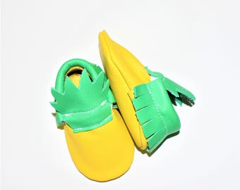 Pineapple Moccasins, Pineapple Leather Baby Moccasins, Pineapple baby shoes, Baby Gifts