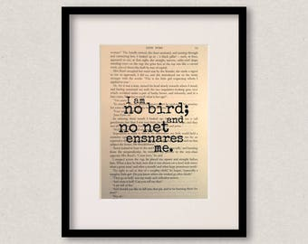 "Jane Eyre - Book Quote Print - Inspirational Quote - Birthday Gift - Best Friend - ""I am no bird; and no net ensnares me"""