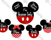 Extra Large Personalized Family Mickey and Medium Mickey/Minnie Disney Cruise Door Magnet Set