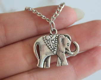 Lucky Elephant Necklace -Elephant Pendant- Animal Necklace -Minimalist Jewelry - Elephant Jewelry