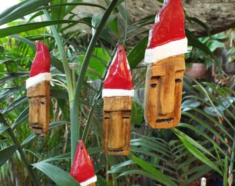 Santa Tiki - Handmade Tiki Christmas Ornaments