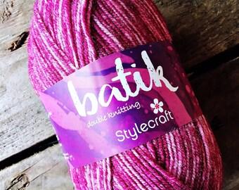 Stylecraft Batik DK Wool Acrylic Blend, Raspberry, 50gms