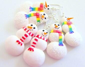 Christmas Earrings - Snowman - Handmade Christmas Jewelry - Cute Christmas Jewellery - Sterling Silver Earwires - Rainbow Earrings