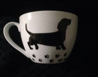 Large Hand Decorated Dachshund Mug. Can be Personalised (personalized)