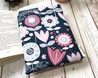 Quirky Floral Book Buddy, Small Medium Large Book Sleeve, Book Lover Gift, Accessories, Paperback Cover, Floral Book Pouch, Bookaholic Bag