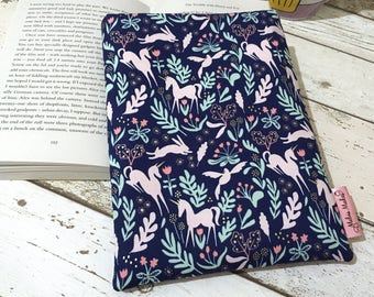 Pink Unicorn Book Sleeve, Padded Book Pouch, Unicorn Book Gift, Choose your Size Book Buddy, Metallic Gold Book Cover, Bookish Accessories