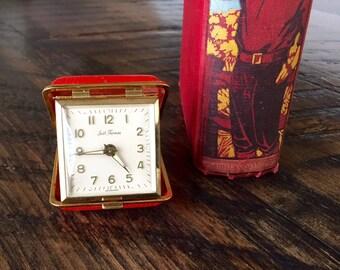 Vintage SETH THOMAS TRAVEL Alarm Clock, Retro Red Travel Clock in Case