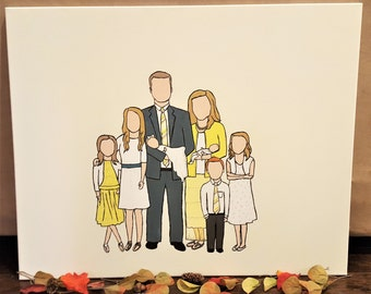 "20x24"" Custom Faceless Family Painting on Canvas"