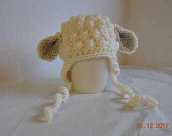 Crochet Lamb Hat - Newborn