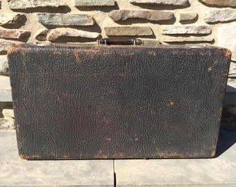 Vintage Black Leather Suitcase Luggage...Cowhide. Black. Blue. Silk. Storage. Retro. Old. Rustic.
