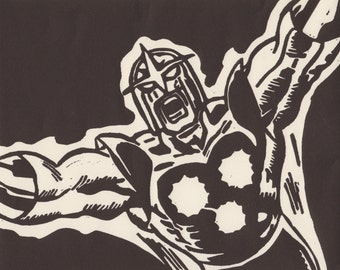 Nova Marvel Comic Book Superhero Linocut Print [8x10]
