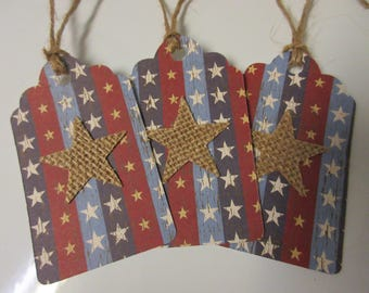 """8-1.75"""" x 3""""  Rustic July 4th Gift Tags-4th Of July Tags-July 4th Decor"""
