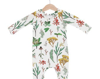 Herbal Organic Cotton Baby Long Sleeve Romper