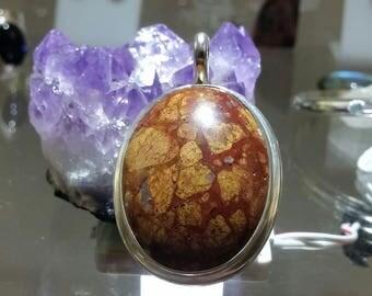 Sterling Silver Brecciated jasper pendant
