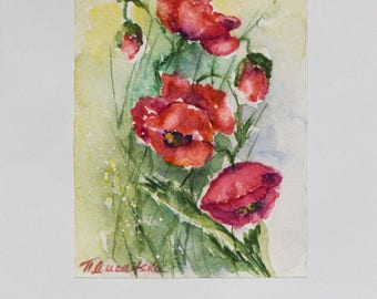 Watercolors card, poppy watercolor, flower greeting card, handpainted cards, Watercolour Card, thank you card, flower cards, Greetings Cards