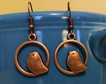 Sweety Bird Earrings - Bohemian, Gypsy Style, Antique Gold