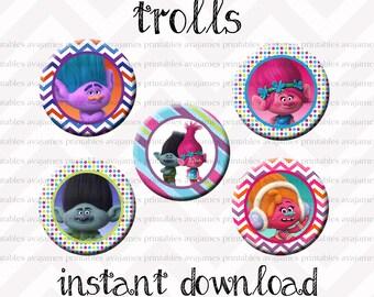 Instant Download - Trolls Bottle Cap Image Sheet