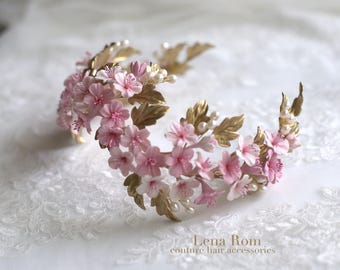 Cherry blossom headpiece. Bridal crown. Gold headpiece. Floral crown. Bridal headpiece. Wedding headpiece. Style 719