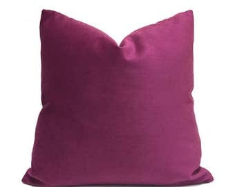 "Magenta Amethyst Purple Velvet Pillow Cover, Fits 12x18 12x24 14x20 16x26 16"" 18"" 20"" 22"" 24"" Cushion Inserts"