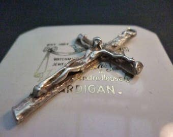 """Vintage silver crucifix pendant - 925 - sterling silver - Jesus on the cross - 2"""" x 1.2"""""""