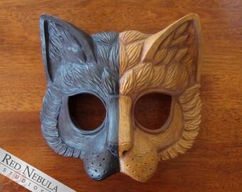 Chimera Cat Mask, Kitty Cat Face Mask, Masquerade Mask, Cat Half Mask, Orange and Black, Half Face Cat Mask, Fancy Dress Party, Cat Costume