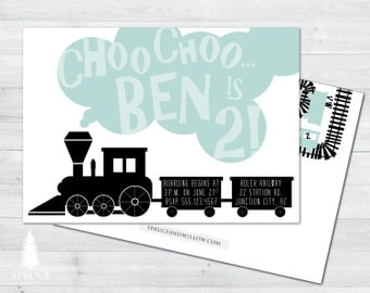 alphabet train birthday invitation, abc birthday invitation, train birthday invitation, alphabet invitation