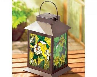 Stained Glass Hummingbirg Lantern Solar Light