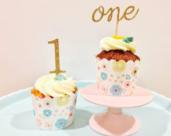 12ct Gold glitter One cupcake topper, first birthday cupcake topper, One birthday cupcake topper