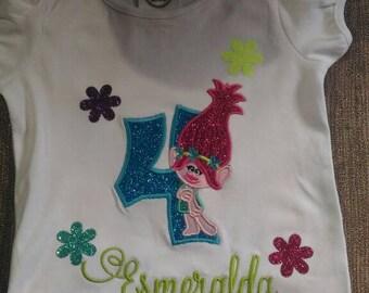 Troll Poppy t-shirt,troll poppy birthday t-shirt, troll poppy embroidery t-shirt