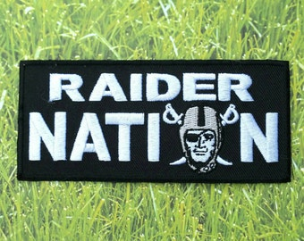 Raider Nation NFL Embroidered Iron On Patch 4 1/2''x 2''