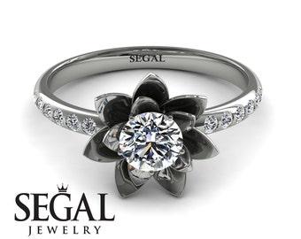 14k White Gold Vintage Engagement Ring Diamond Ring White Gold Lotus Engagement Ring Flower Ring Vintage Engagement Ring - Lotus