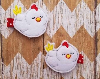 Chicken hair clips, chicken clippies, chicken hair bows, chicken bows, toddler hair clips, pigtail bows, farm girl hair bows, farm bows