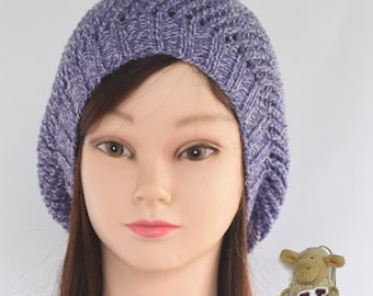 Lady's knitted hat - slouchie style - lilac with white fleck