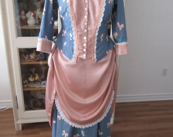 1880's Women's Dress, End Of 19th Century Woman Clothing (Size 14) #NB-7