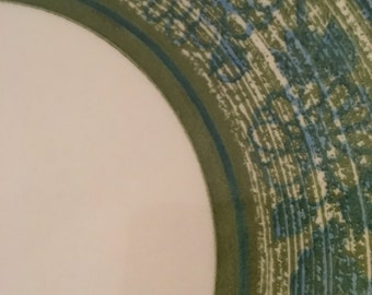 Ironstone  plate Green ,blue and white Clear Day