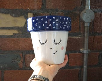 Ceramic Planter | Rosie | Hand painted Ceramic Pot