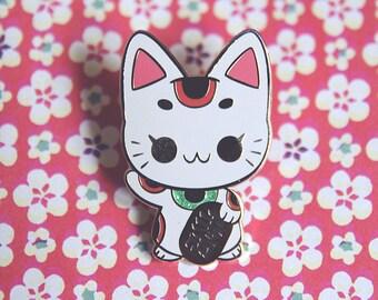 Maneki Neko (Japanese Lucky Cat) Enamel Pin