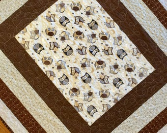 "Owl quilt Owls Modern geometric Brown and grey quilt for baby and toddler.  40"" x 46"".  Owls baby blanket, play mat, car seat quilt."