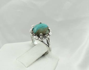 Vintage Sterling Silver Turquoise Ring. Southwest Native American Collectable Size 5 1/2  #RDTQS-SR3