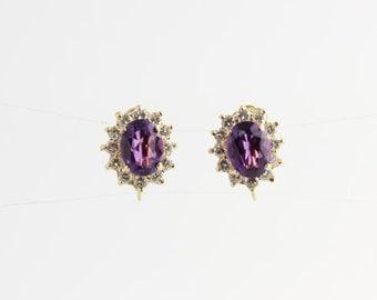Quality Vintage 3ct Oval Amethyst .50ct Round Diamond 14k Screw Back Earrings