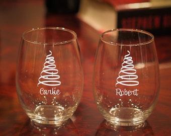 Christmas Wine Glasses, Christmas Tree Wine Glass, Christmas Party, Etched Christmas Glasses, Christmas Gift, Christmas Glasses, Set of 2